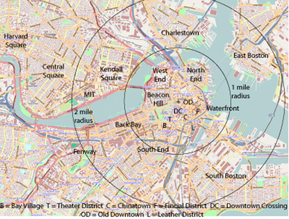 400pxMapofBostonandCambridgeplusmilesjpg – Boston City Map Tourist
